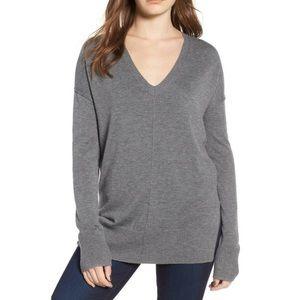 Trouve V Neck Grey Sweater Large